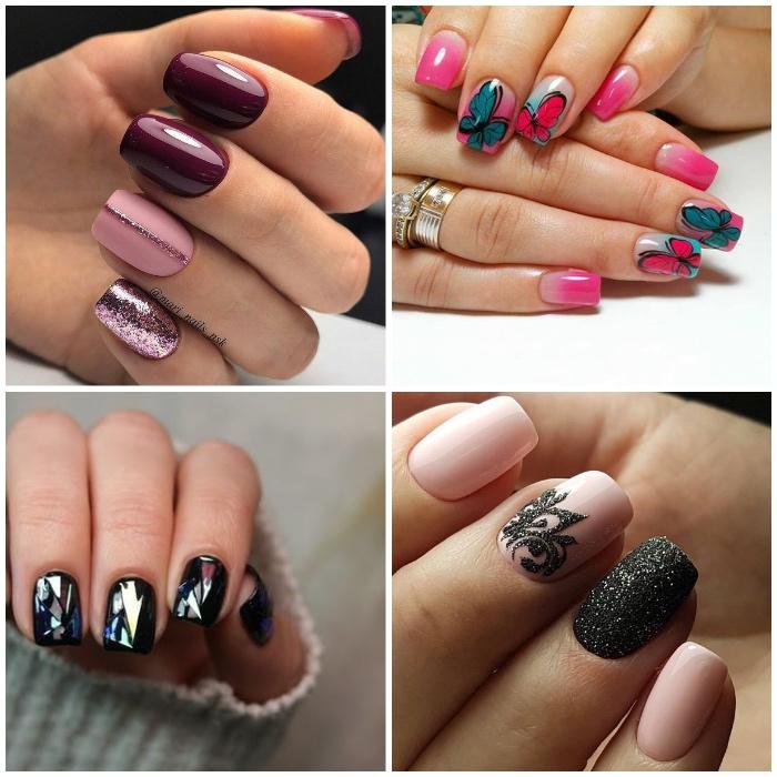 gelnägel design in rosa, kreative nagelmotive, schmetterling, glitzer, großer ringe