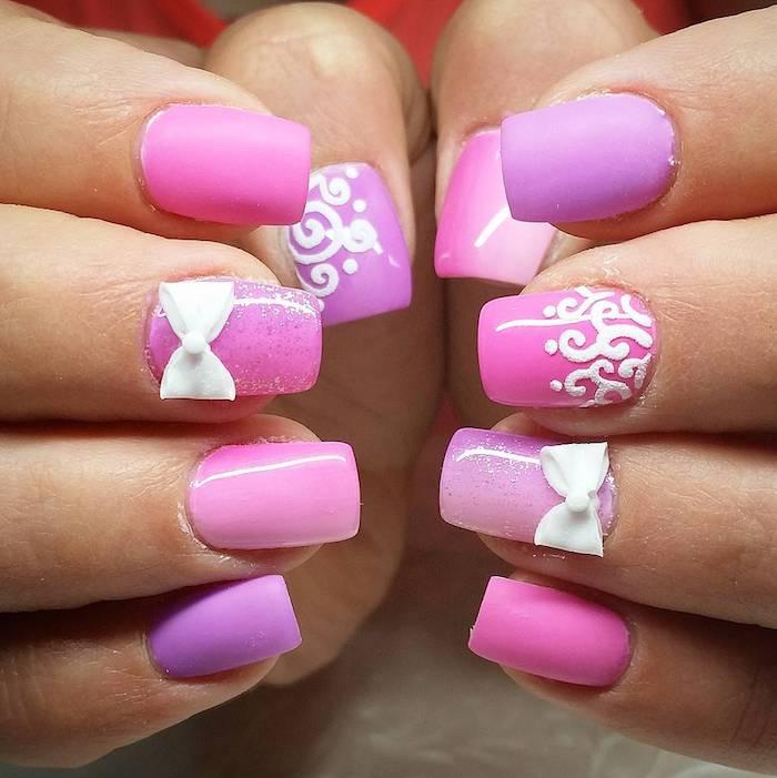 gelnägel natur rosa, lange nägel, weiße schleife, 3d, zwei hände, abstraktes motiv