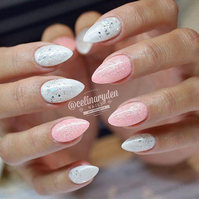 gelnägel natur rosa, stiletto nagel, nageldesign mit glitzer, rosa in kombination mit weiß