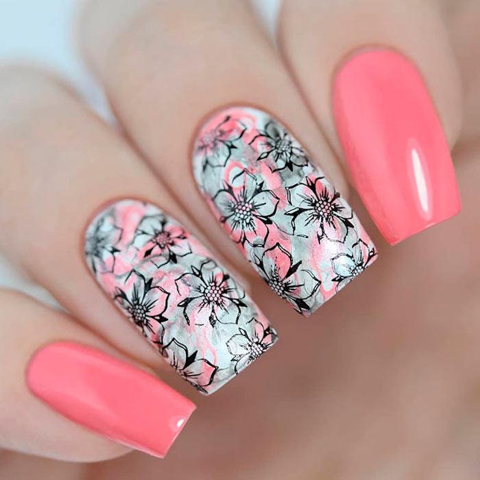 gelnägel natur rosa, lange nägel lackieren, kreative nagelmotive mit blumen