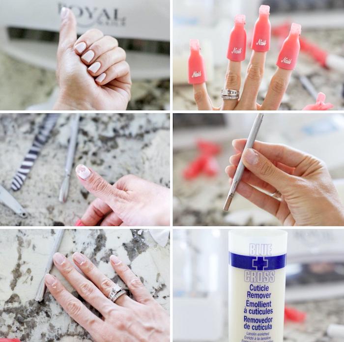 gelnägel selbst entfernen, zuhause, anleitung, weißer nagellack, aceton, nägel reinigen