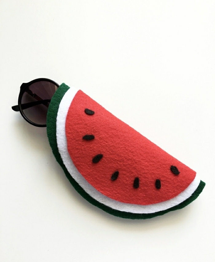 geschenkideen für beste freundin, sonnenbrille schale, halter selber machen, wassermelone motive