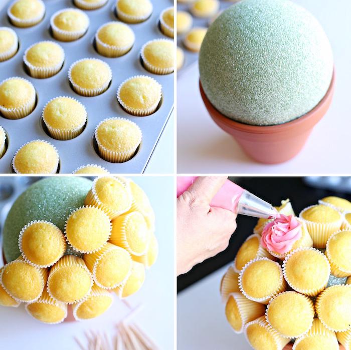 geschenke selber machen, ball aus styropor, vanille muffins mit buttercreme dekorieren