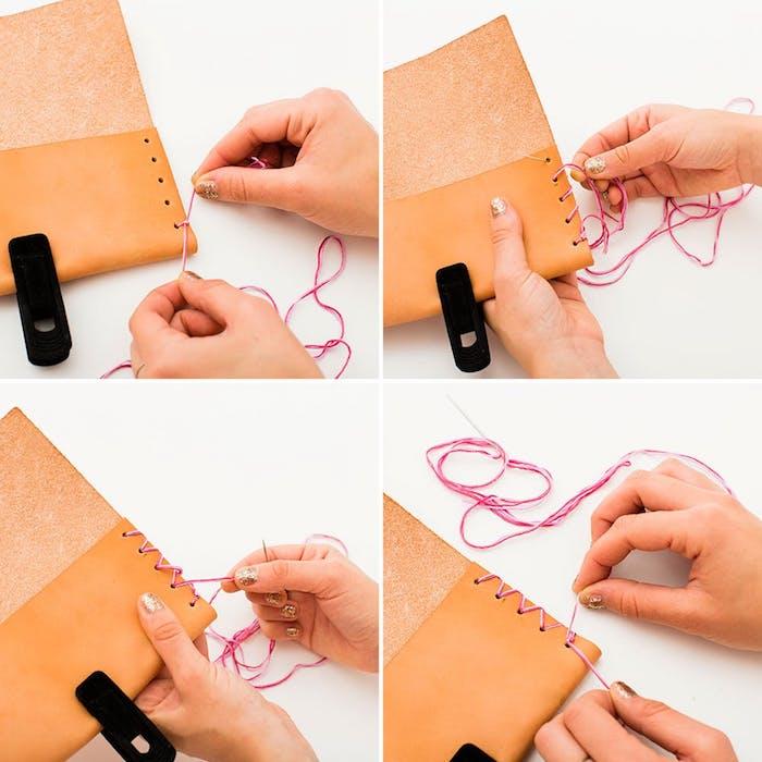 geschenke selber machen, anleitung wie sie brillenetui aus leder basteln, bastelideen