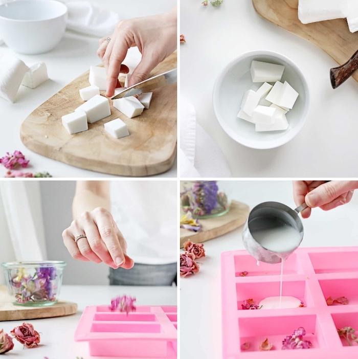 seifen schneiden und schmelzen, getrocknete rosenblätter, geschenke selber machen, anleitung