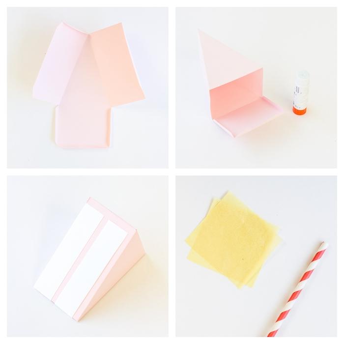 Schachtel aus Tonkarton in From von Tortenstück selber basteln, DIY Anleitung in vier Schritten