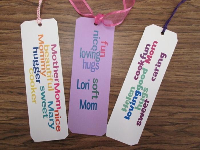 Lesezeichen zu Muttertags, lila und weiße Lesezeichen mit Schleifen, Lesezeichen selber basteln