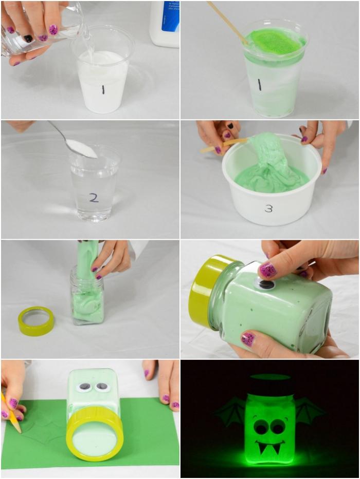 fluffy slime selber machen, diy glühende paste in grün, collage mit anleitung