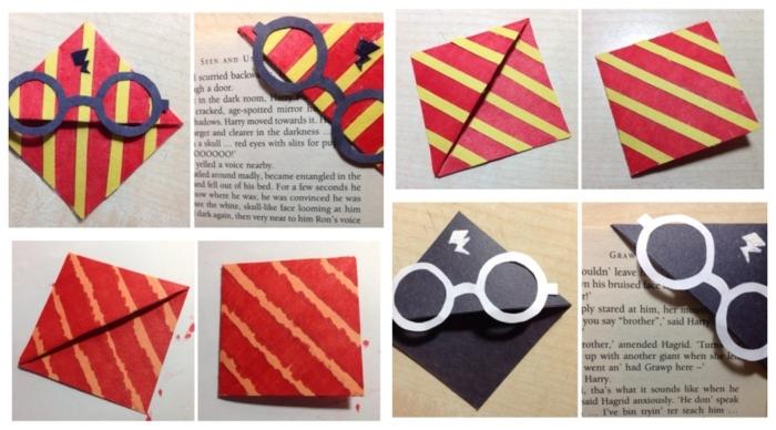 Lesezeichen selber machen für das Harry Potter Buch, zwei Variante in verschiedener Farben