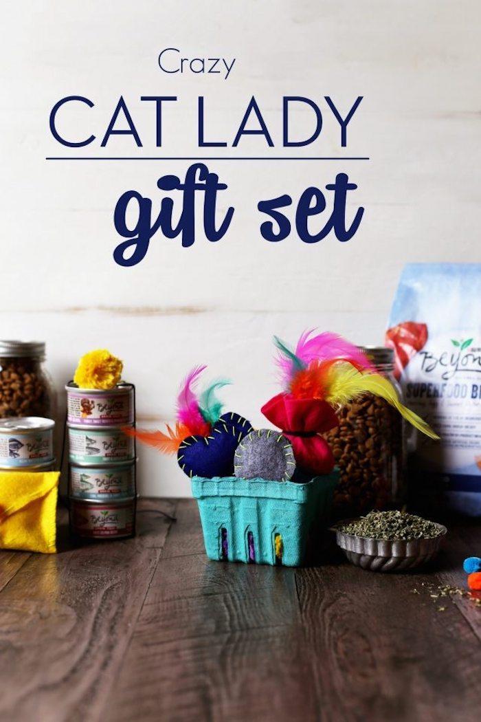 katzenspielzeug basteln, spielzeuge für katze aus wollfilz und federn, katzenfütter in dosen