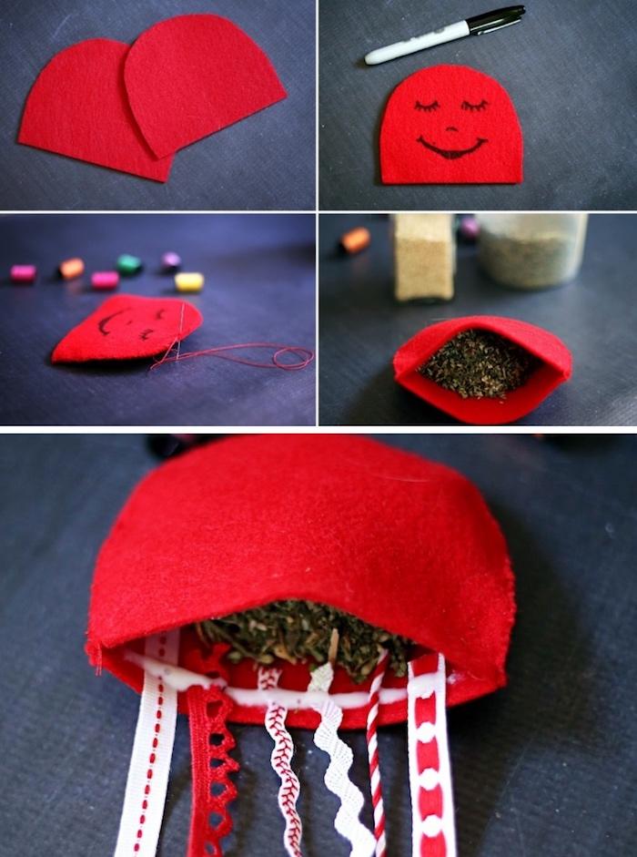 rote qualle aus wollfilz nähen, katzepspielzeug selber machen, katzenminze als fülllung