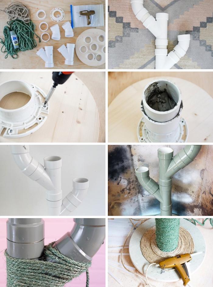 katzenspielzeug basteln aus leitungsröhren, beton und holz, konstruktion machen, kratzbaum