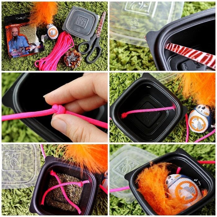 katzenspielzeug beschäftigung, schwarze box, rosa seil, knoten binden, loch bohren