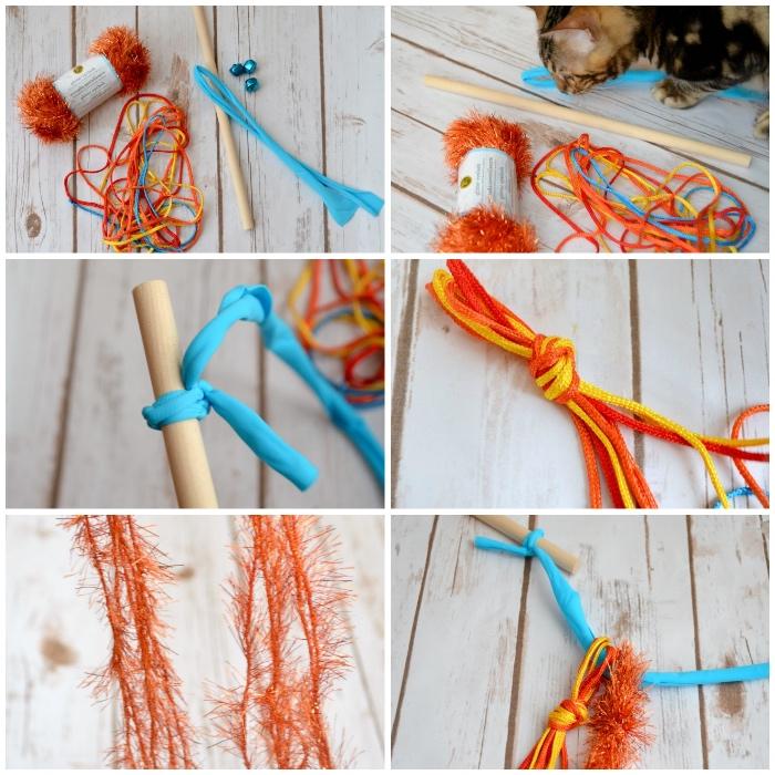 katzenspielzeug beschäftigung, orangenfarbene girlande, streifen blauer stoff, kleine glöckchen