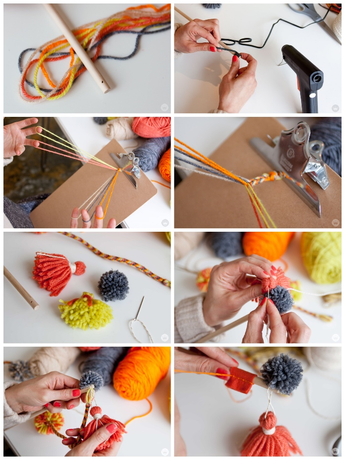 katzenspielzeug diy, anleitung in bildern, angel selber machen, holzstäbchen, zopf aus garn flechten