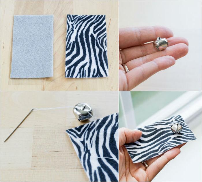 katzenspielzeug diy, kleines silchernes glöckchen, stoff mit zebra muster, nähen