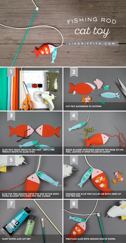 katzenspielzeug diy, fische angeln, anger aus holzstäbchen und seil, orangenfarbener fisch