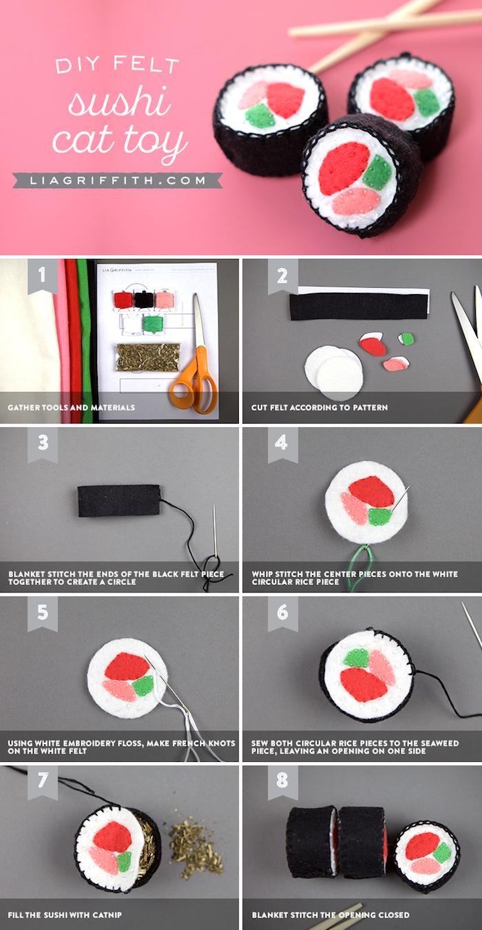 katzenspielzeug diy, kleine spielzeuge in form von sushi nähen, materialien, bastelanleitung
