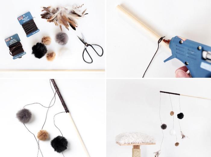 katzenspielzeug selber basteln, lederkordel an holzstab kleben, kleine schere, bommeln