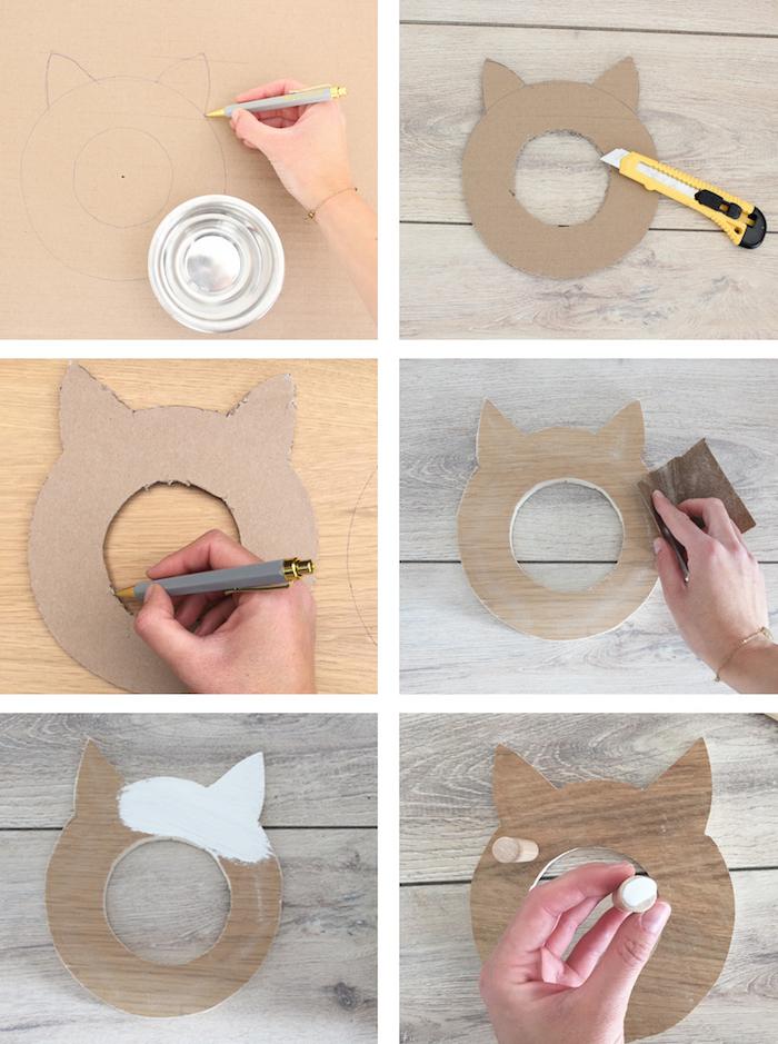 katzenspielzeug selber basteln, schablone zeichnen, form ausscheniden, weiße farbe, diy
