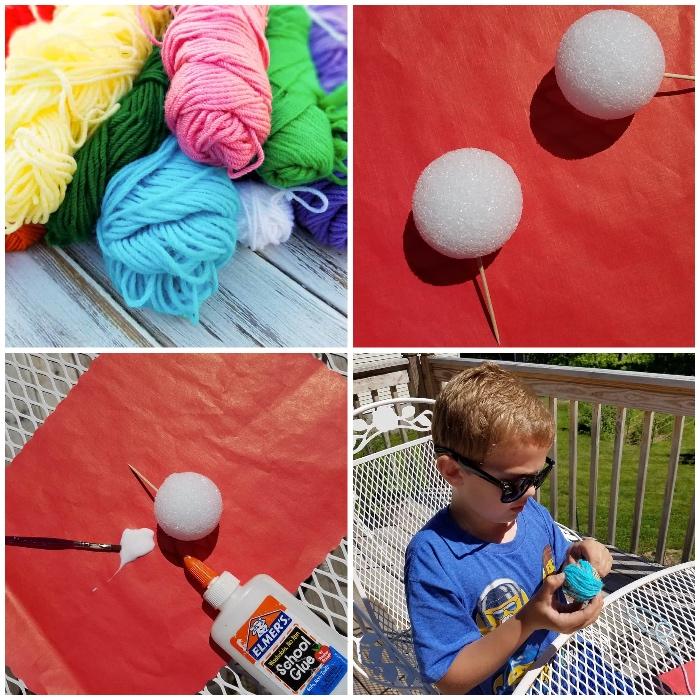 katzenspielzeug selber bauen, kleine junge mit sonnenbrillen, garn in verschiedenen farben, styroporbälle