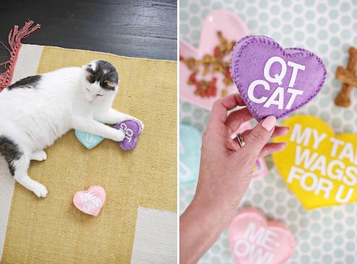 katze in weiß und grau, katzenspielzeug selber machen, kerz aus lila wollfilz, kissenfüllung und katzenminze