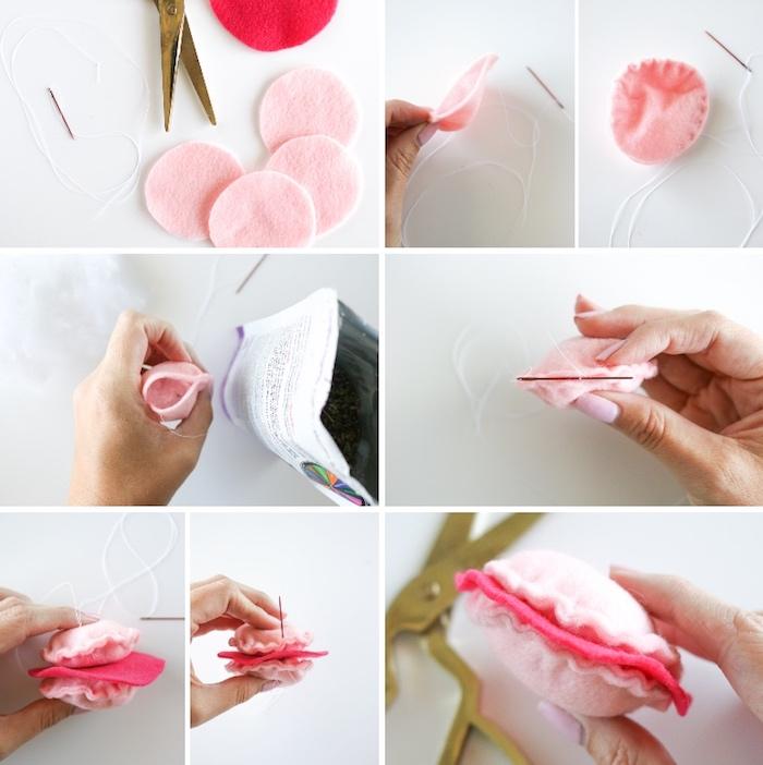 katzenspielzeug selber machen, kreise aus soff aneinander nähen, spielzeug für katze, rosa
