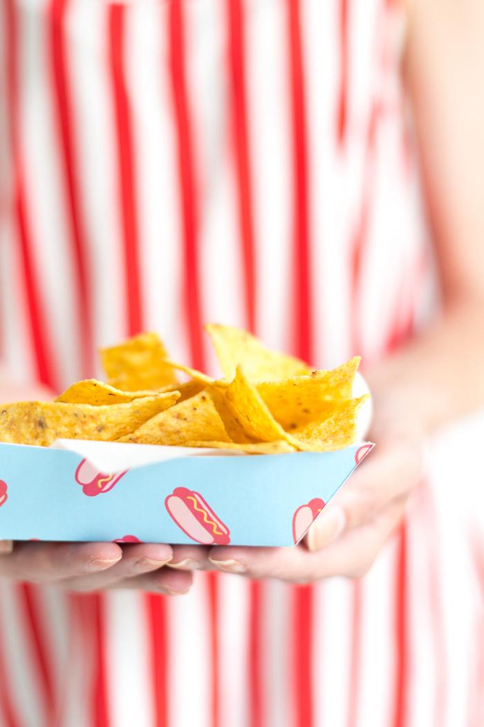 Nachos in selbstgemachtem Teller, Bastelidee für Sommerparty, praktisch und schön