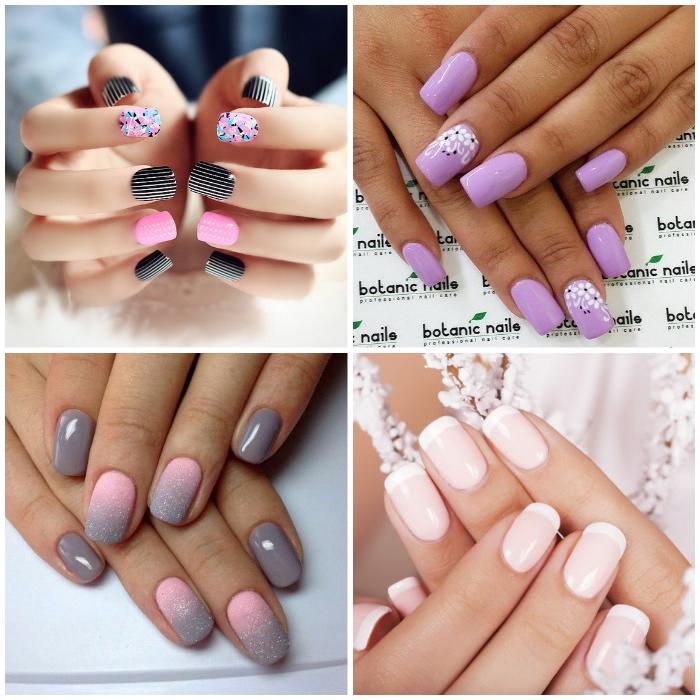 kurze gelnägel french, nageldesigns in rosa, lila und grau, ombre nägel, französische maniküre, blumen, streifen