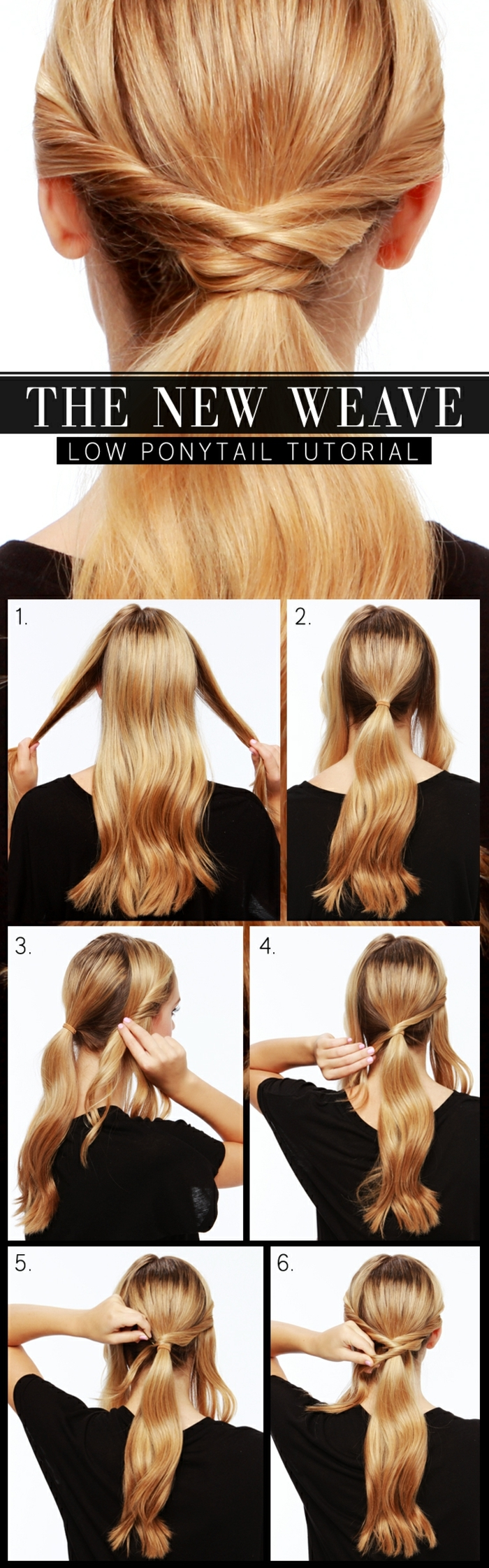 schöne Frisuren für lange Haare, ein Pferdeschwanz in sechs Schritten von blonden Haaren