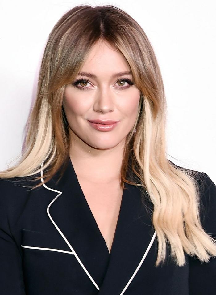 Make hairstyles for long hair yourself, long blonde hair, short bangs, black jacket