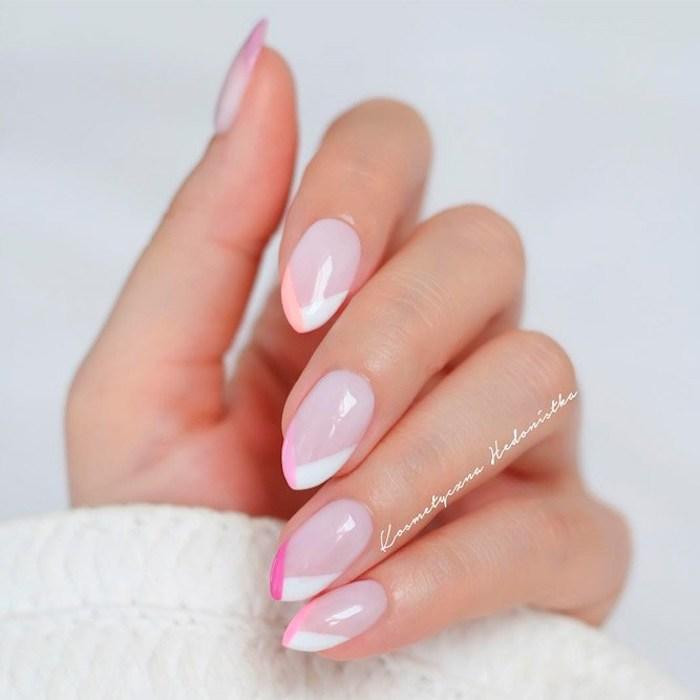 lange natürliche gelnägel, französische maniküre in weiß und rosa, geometrische motive