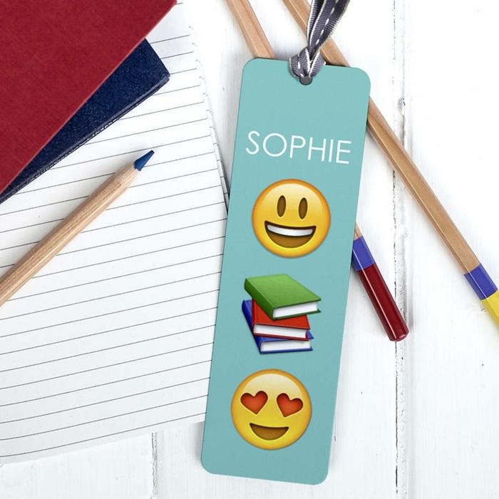 blaues Lesezeichen mit Emoji Bildern, Lesezeichen Kunder mit dunkelblauer Schleife