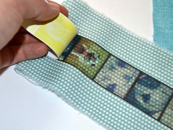 Lesezeichen selber machen, die Iron-on Papier entfernen, um das Muster zu sehen