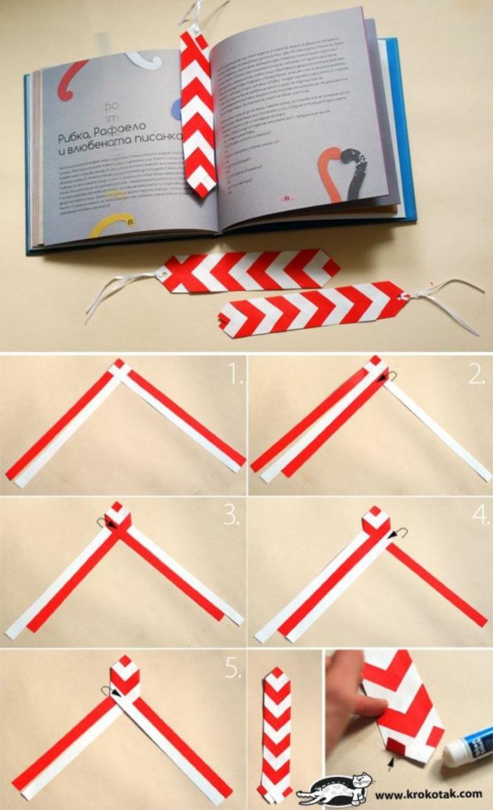 Lesezeichen falten, in einigen Schritten schöne Lesezeichen schaffen in roter und weißer Farbe