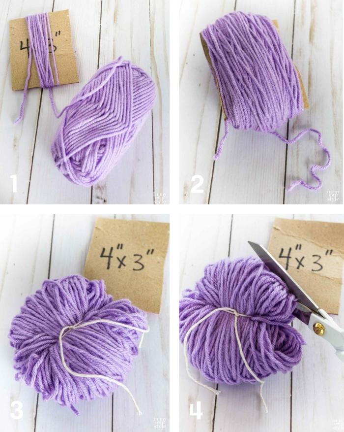 eine Anleitung aus vier Schritten, Basteln aus Wolle in lila Farbe mit einem Karton