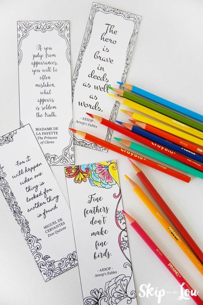 Buntstifte, Lesezeichen zum Ausmalen mit weisen Zitaten, Lesezeichen basteln