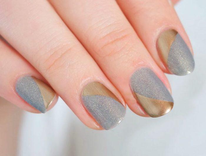 nageldesign selber machen, kurze fingerngel, festliche maniküre in silbern und gold, glitzer