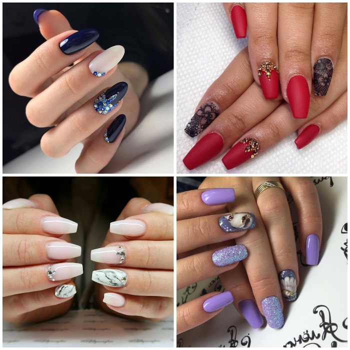 nageldesign selber machen, marmor motiv, roter nagellack, lila glitzer, strasssteinchen