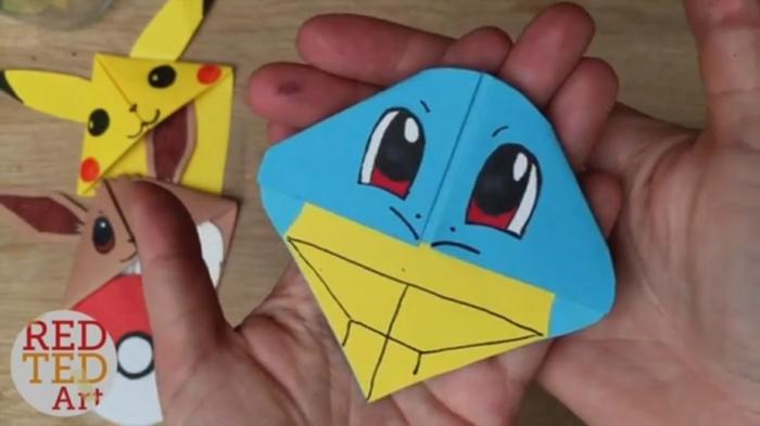 Lesezeichen falten, Pokemon Figuren von verschiedenen Pokemon Helden