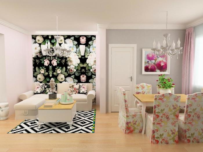 bunte Wände und bunte Motibe von dem Möbel, rosa mischen, eine altrosa Fototapete