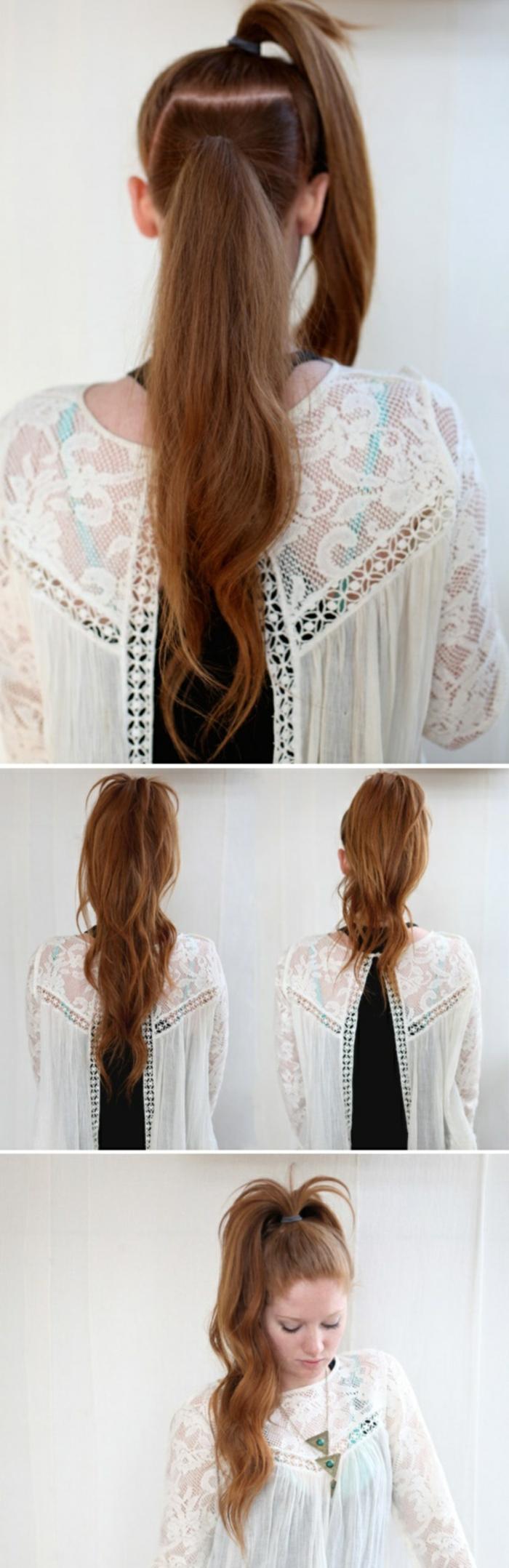 ein Mädchen mit rotem Haar, schöne Frisuren für lange Haare, vier Fotos von der Frisur