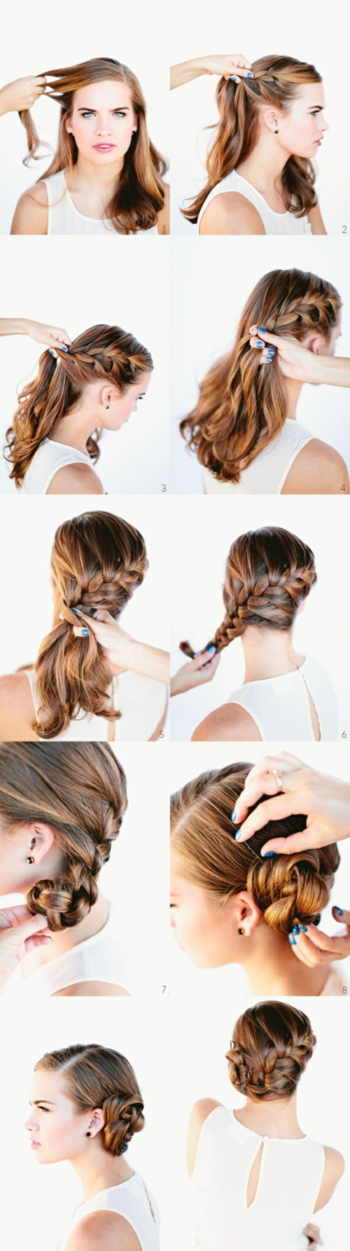 eine Anleitung, wie Sie eine prima Frisur für lange Haare machen, schöne Frisuren für lange Haare