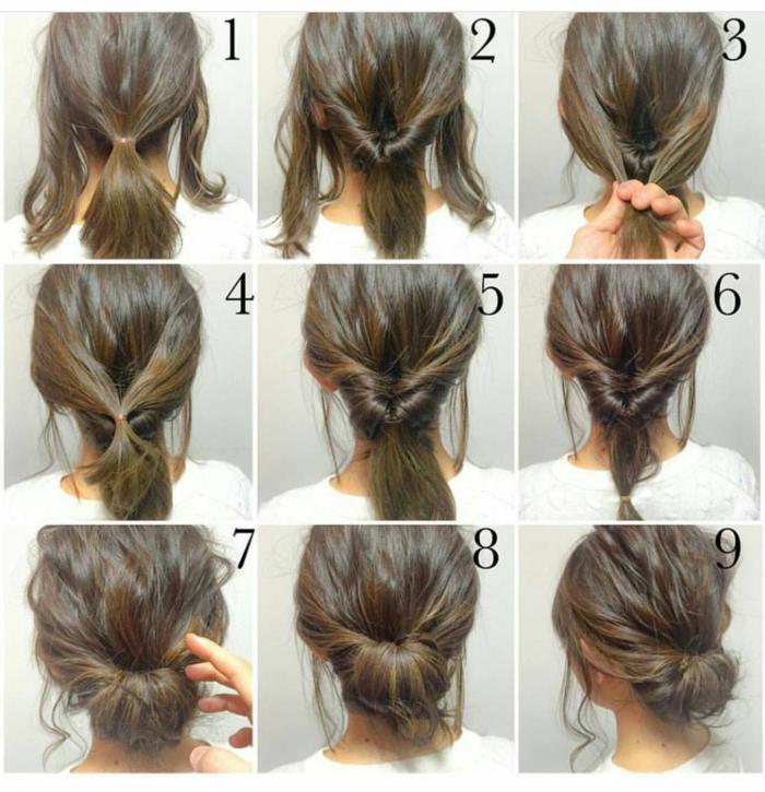 Langhaarfrisuren, braun Haar Frisuren mit Lockerstab und Hochsteckfrisur, in neun Schritten