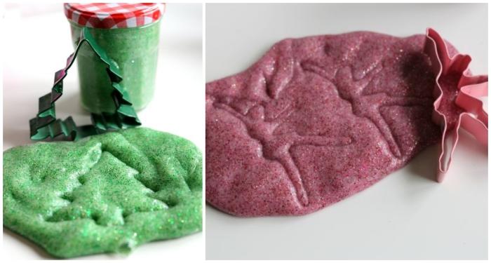 schleim idee grün und lila idee, weihnachtsbaum, lila, violett, in glas