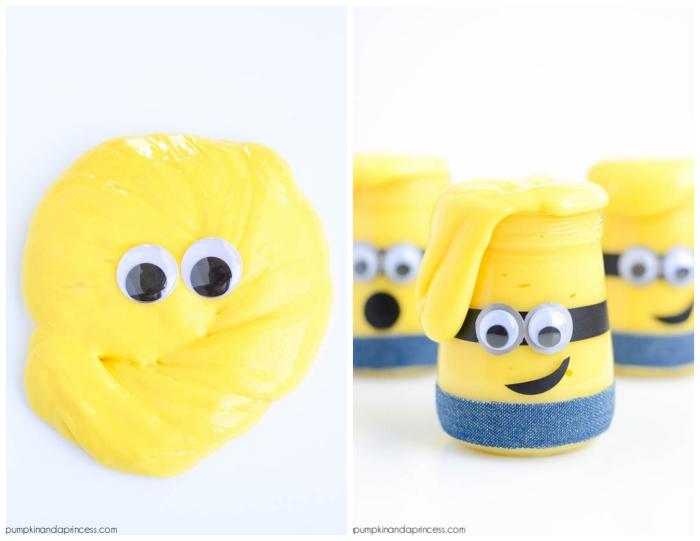 schleim rezept ideen in bild und schrift, minions aus slime, gelbe paste in gläser