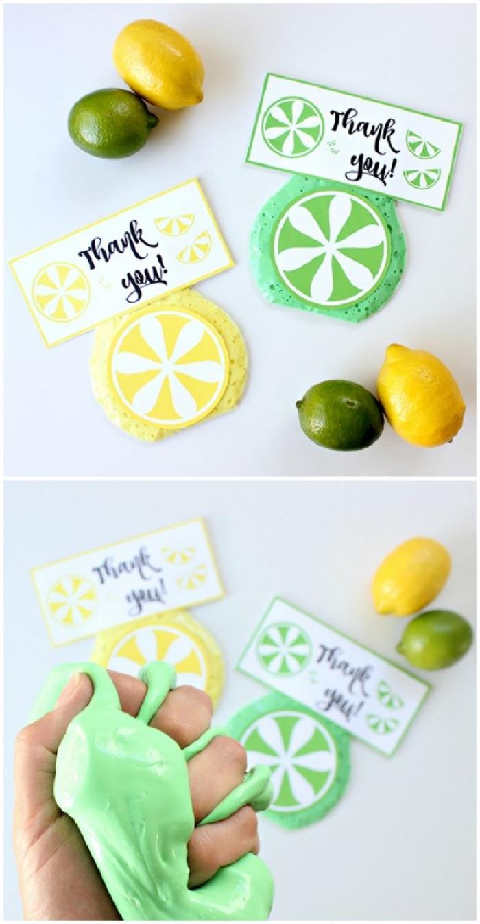 schleim rezept, bunte formen, grün und gelb ideen, danke, zitronen, limetten