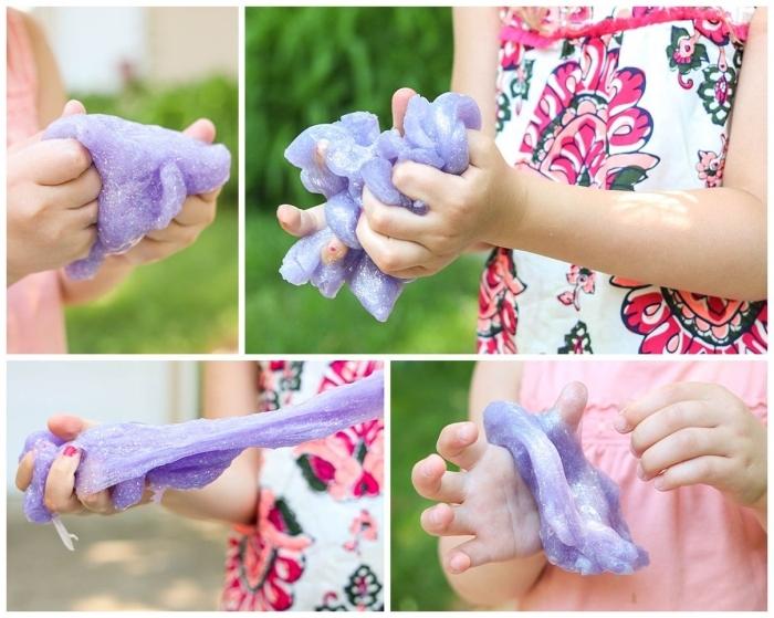 schleim selber machen idee in bildern ein mädchen knetet selber violetten teig