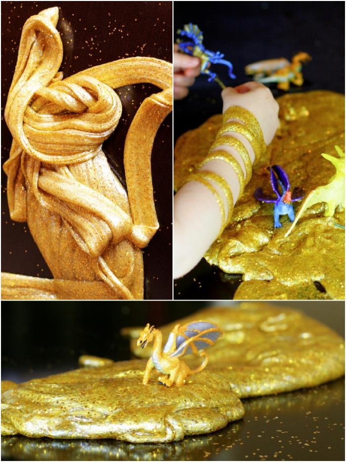 schleim rezept in goldener farbe, eine schöne idee, dinosaurier figuren, kinder spiele