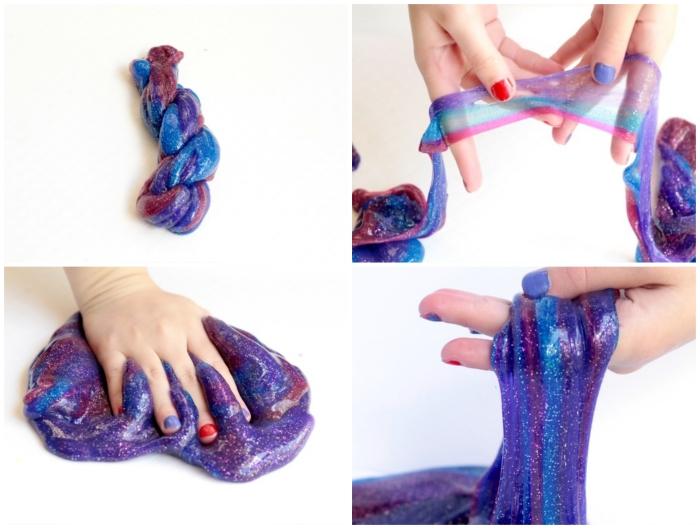 violettes schleim rezept zum nachmachen, bunte gestaltung in blau, lila und rot, kinder spielen mit klebrigem teig
